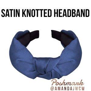"Silk Cross Knot Twist Headband - Deep Blue - 1"""